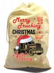 X-Large Cotton Drawcord Trucker Christmas Santa Sack And Funny Merry Trucking Christmas Motif
